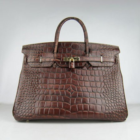 Hermes Birkin 40cm Crocodile Stripe Handbags Dark Brown Golde