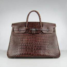 Hermes Birkin 40Cm Crocodile Stripe Handbags Dark Brown Silve