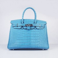 Hermes Birkin 30Cm Crocodile Stripe Handbags Blue Silver