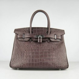 Hermes Birkin 30Cm Crocodile Stripe Handbags Dark Coffee Silver