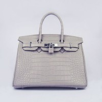 Hermes Birkin 30Cm Crocodile Stripe Handbags Grey Silver