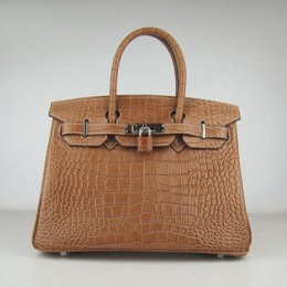 Hermes Birkin 30Cm Crocodile Stripe Handbags Light Coffee Silver