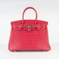 Hermes Birkin 30Cm Crocodile Stripe Handbags Red Gold