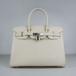 Hermes Birkin 30Cm Togo Leather Handbags Beige Silver