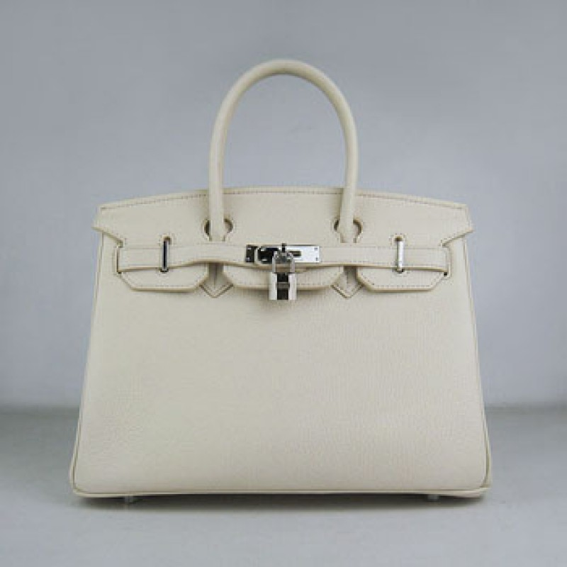 d51e4300d7 Hermes Birkin 30cm Togo Leather Handbag Beige Silver For Sale