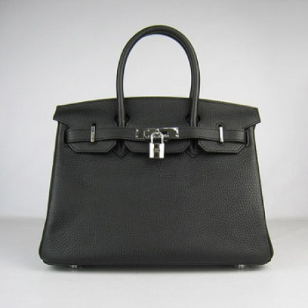 Hermes Birkin 30Cm Togo Leather Handbags Black Silver