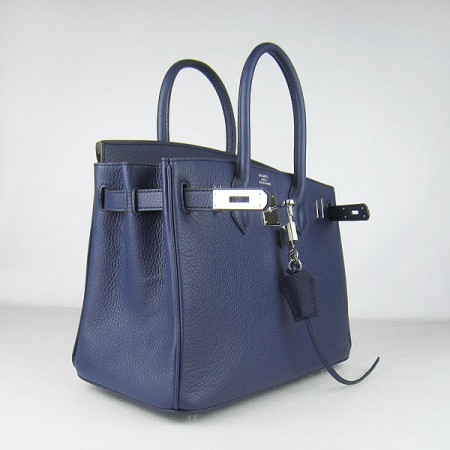 Hermes Birkin 30Cm Togo Leather Handbags Dark Blue Silver