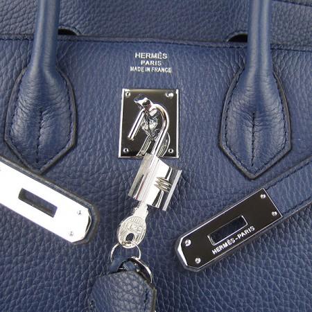 5cbc633af618 Hermes Birkin 30cm Togo Leather Handbag Dark Blue Silver For Sale