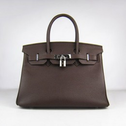 Hermes Birkin 30Cm Togo Leather Handbags Dark Coffee Silver