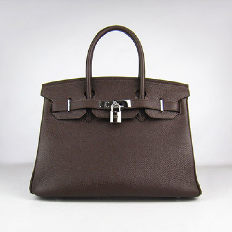 b0b1b448840f Hermes Birkin 30cm Togo Leather Handbag Dark Coffee Silver For Sale