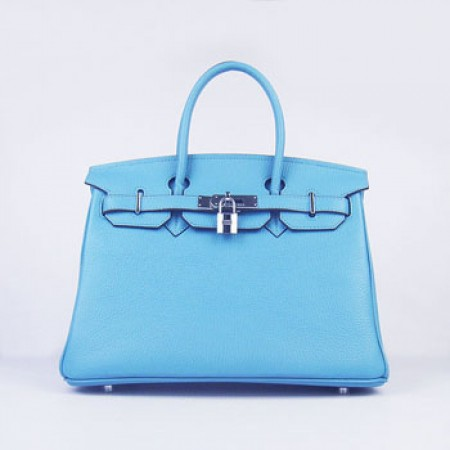 Hermes Birkin 30Cm Togo Leather Handbags Light Blue Silver