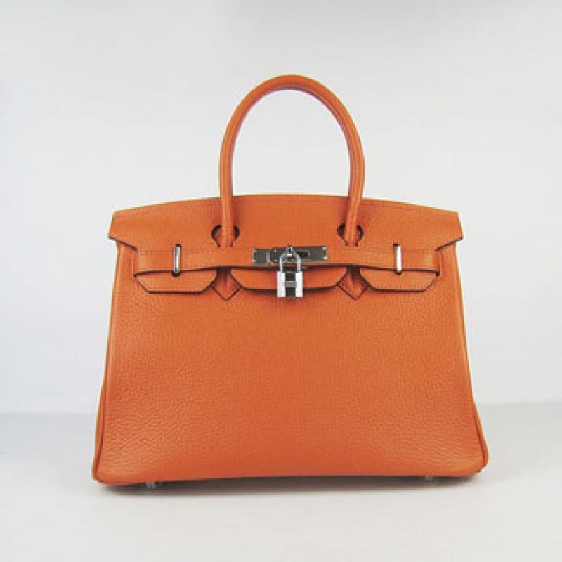 016e94e999 Hermes Birkin 30cm Togo Leather Handbag Orange Silver For Sale