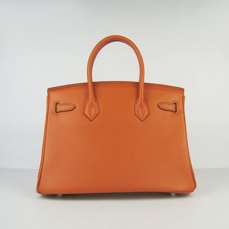 Hermes Birkin 30Cm Togo Leather Handbags Orange Silver