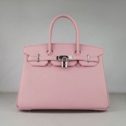 Hermes Birkin 30Cm Togo Leather Handbags Pink Silver