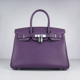 Hermes Birkin 30Cm Togo Leather Handbags Purple Silver