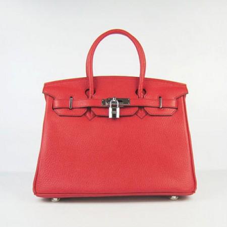 25b7c4d79cf1 Hermes Birkin 30cm Togo Leather Handbag Red Silver For Sale