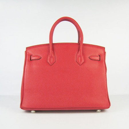 Hermes Birkin 30Cm Togo Leather Handbags Red Silver
