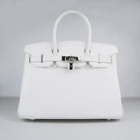 4d25d99e6478 Hermes Birkin 30cm Togo Leather Handbag White Silver For Sale