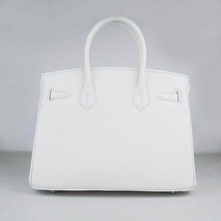Hermes Birkin 30Cm Togo Leather Handbags White Silver