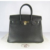 Hermes Birkin 35Cm Togo Leather Handbags Black Gold