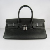 Hermes Birkin 42Cm Togo Leather Handbags Black Silv