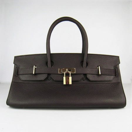 Hermes Birkin 42Cm Togo Leather Handbags Dark Coffee Gold