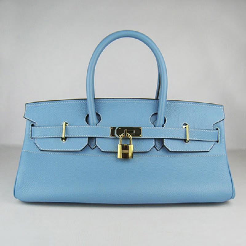60b66b90ea30 Hermes Birkin 42Cm Togo Leather Handbags Light Blue Gold ...