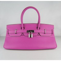 Hermes Birkin 42Cm Togo Leather Handbags Peach Silv