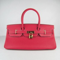Hermes Birkin 42Cm Togo Leather Handbags Red Gold