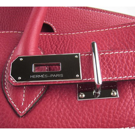 Hermes Birkin 42Cm Togo Leather Handbags Red Silver