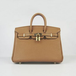 Hermes Birkin 25Cm Handbag Light Coffee Gold