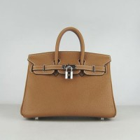 Hermes Birkin 25Cm Handbag Light Coffee Silver