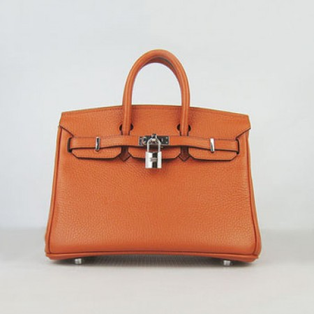 Hermes Birkin 25Cm Handbag Orange Silver