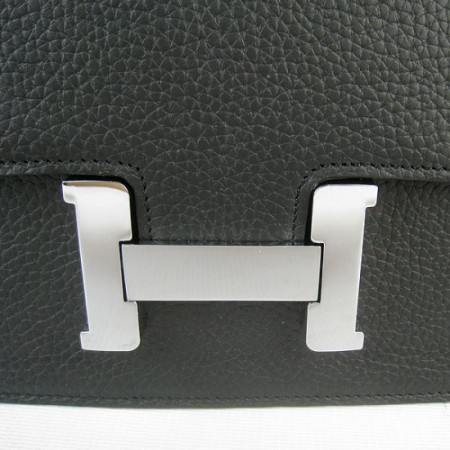 Hermes Constance Shoulder Bag Black Silver