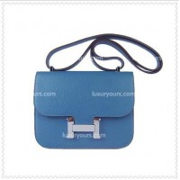 Hermes Constance Shoulder Bag Blue Silver