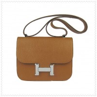 Hermes Constance Shoulder Bag Light Tan Silver