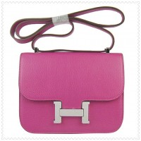 Hermes Constance Shoulder Bag Peach Silver