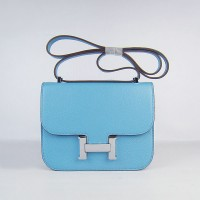 Hermes Constance Shoulder Bag Skyblue Silver
