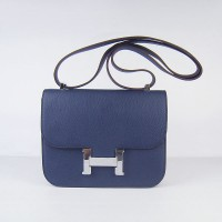 Hermes Constance Shoulder Bag Deep Blue Silver