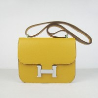 Hermes Constance Shoulder Bag Yellow Silver