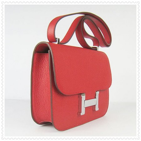Hermes Constance Shoulder Bag Red Silver