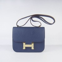 Hermes Constance Shoulder Bag Deep Blue Gold