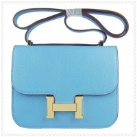 Hermes Constance Shoulder Bag Skyblue Gold