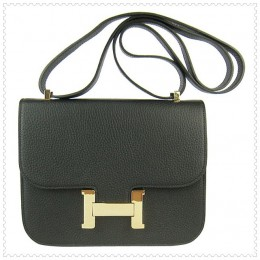 Hermes Constance Shoulder Bag Black Gold
