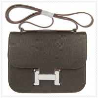 Hermes Constance Shoulder Bag Hepatic Silver