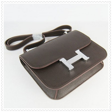Hermes Constance Shoulder Bag Hepatic Silver