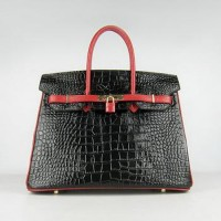 Hermes Birkin 35CM Crocodile Stripe Black Red Gold