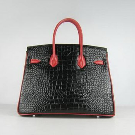 Hermes Birkin 35CM Crocodile Stripe Black Red Silver