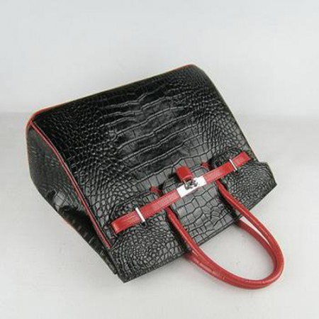 9149cafcc003 Hermes Birkin Bag 35cm Crocodile Stripe Black Red Silver