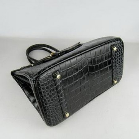Hermes Birkin 35CM Crocodile Stripe Black Gold